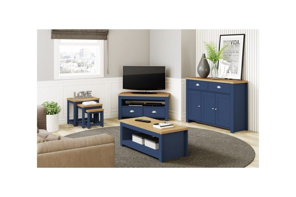 Winchester Large Tv Unit In Navy Blue Oak Furnitureinstore