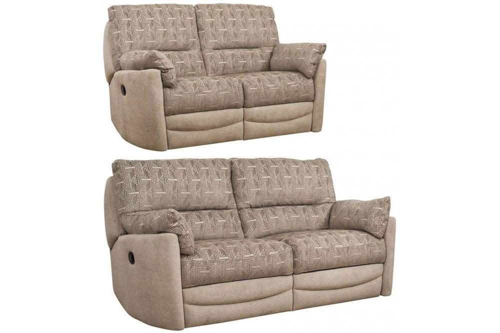 Buoyant Metro 3 2 Seater Fabric, Brown Fabric Recliner Sofa 3 2
