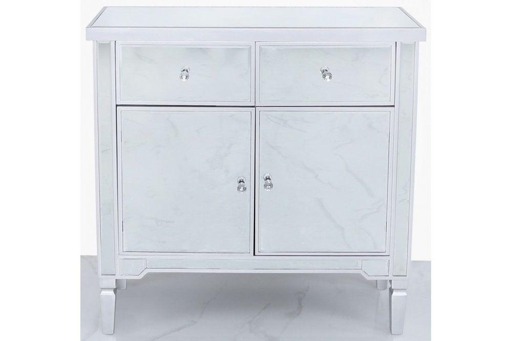 Wengen Silver Trim Mirrored Sideboard, Small Venetian Mirrored Sideboard
