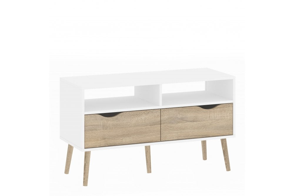 Oslo Tv Unit 2 Drawers In White Oak, Furniture 2 Go