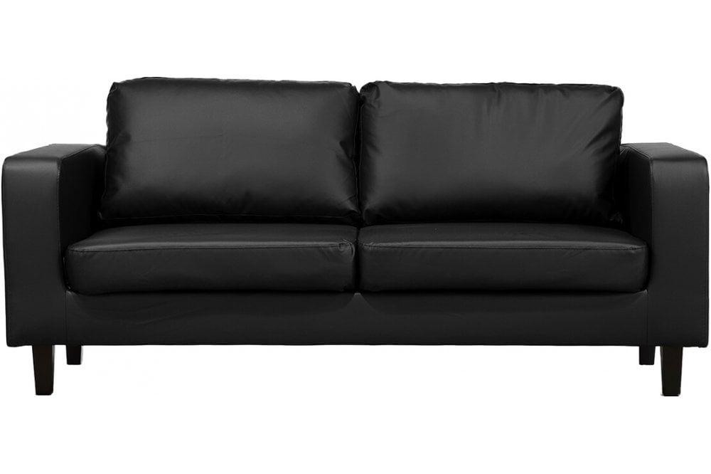 Box Black Leather 3 Seater Sofa, Black Leather Sofa