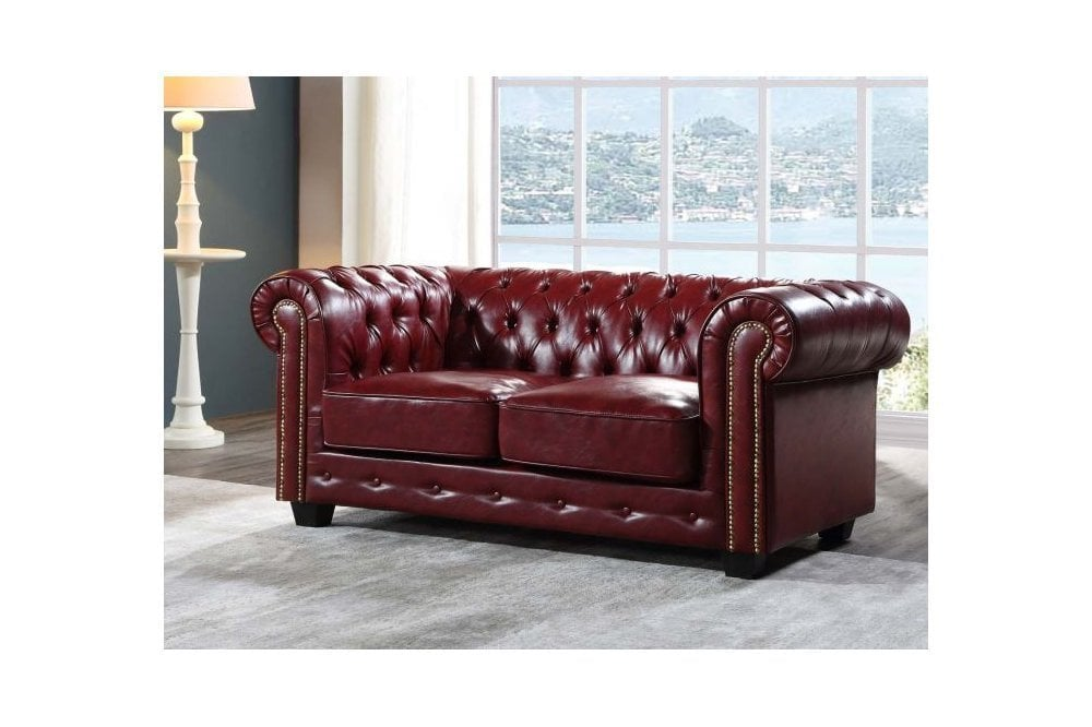 FurnitureInstore Chesterfield Leather Sofa Red Antique 2+2 Seater Sofa Set
