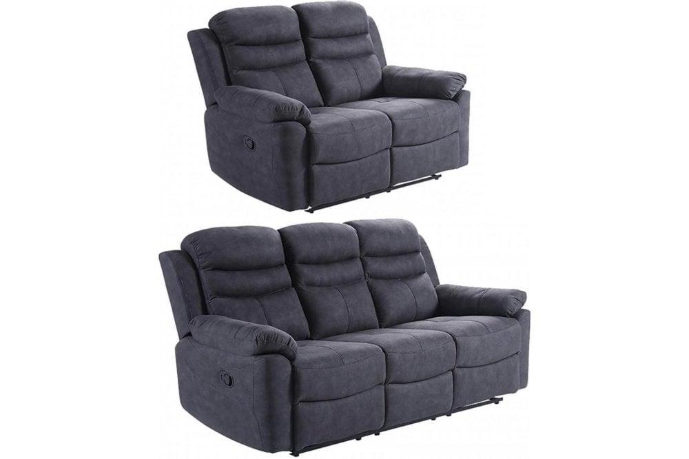 Conway Grey Fabric Recliner 3 Seater Sofa | FurnitureInstore