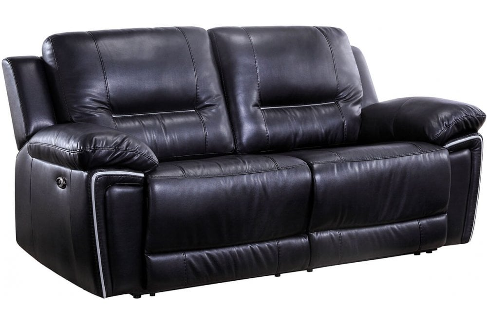 Henry Black Leather Electric Recliner 3, Electric Leather Sofa