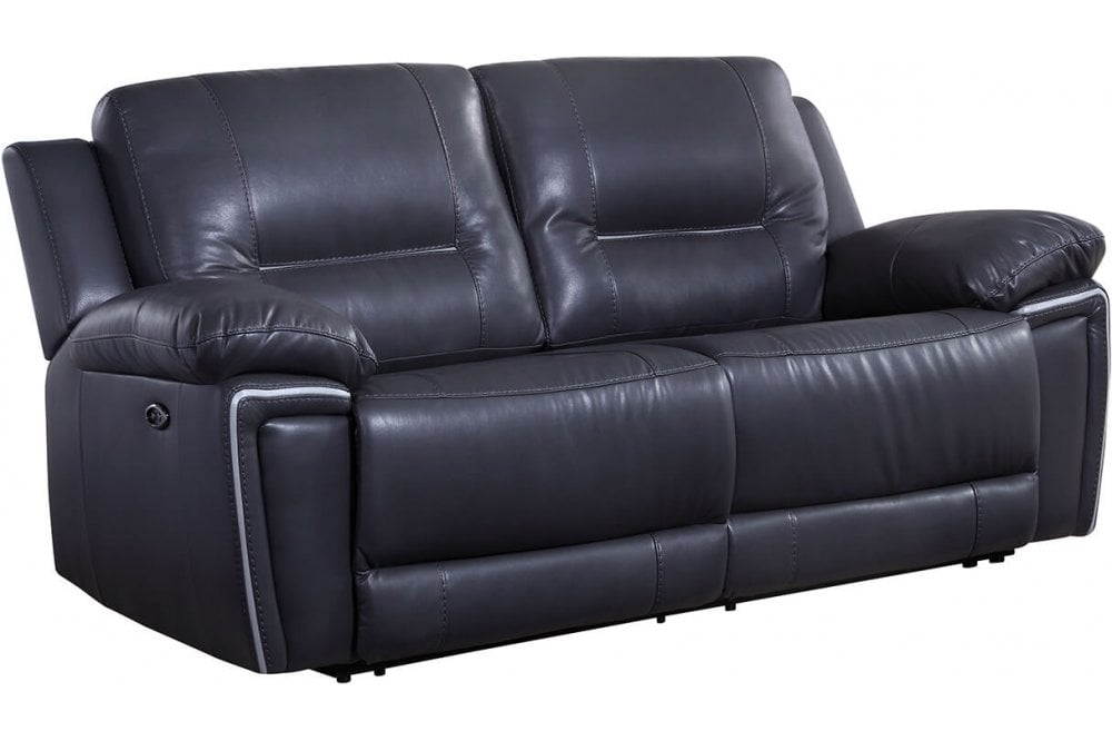 Henry Grey Leather Electric Recliner 3, Electric Leather Sofa