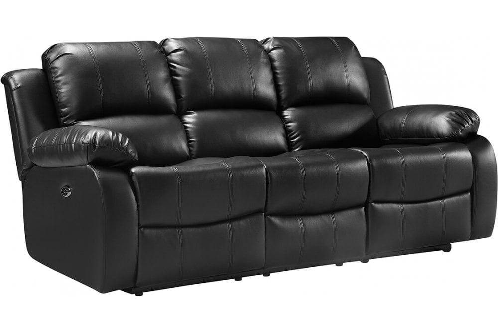 Valencia Leather Sofa Black Electric Recliner 3 Seater ...
