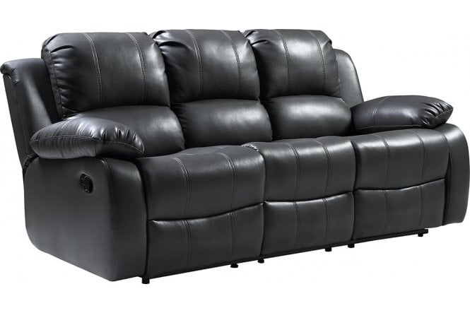 Valencia Leather Sofa Grey Recliner 3 Seater ...