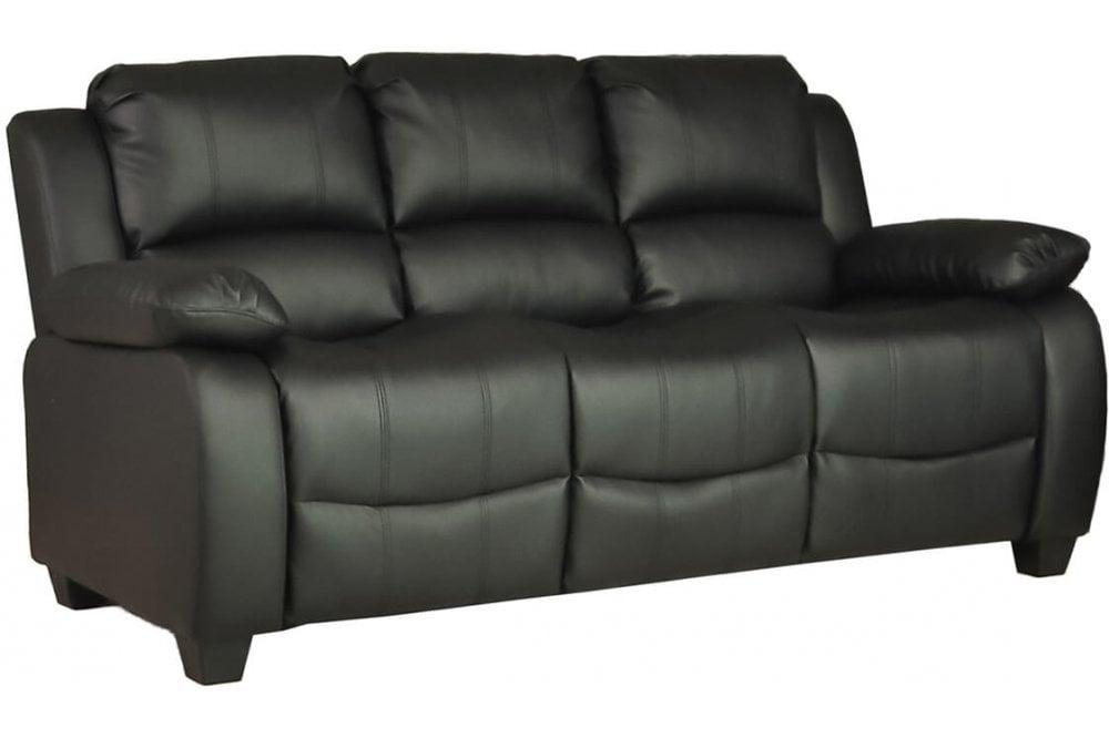 FurnitureInstore Valerie Leather Sofa Black 3 Seater
