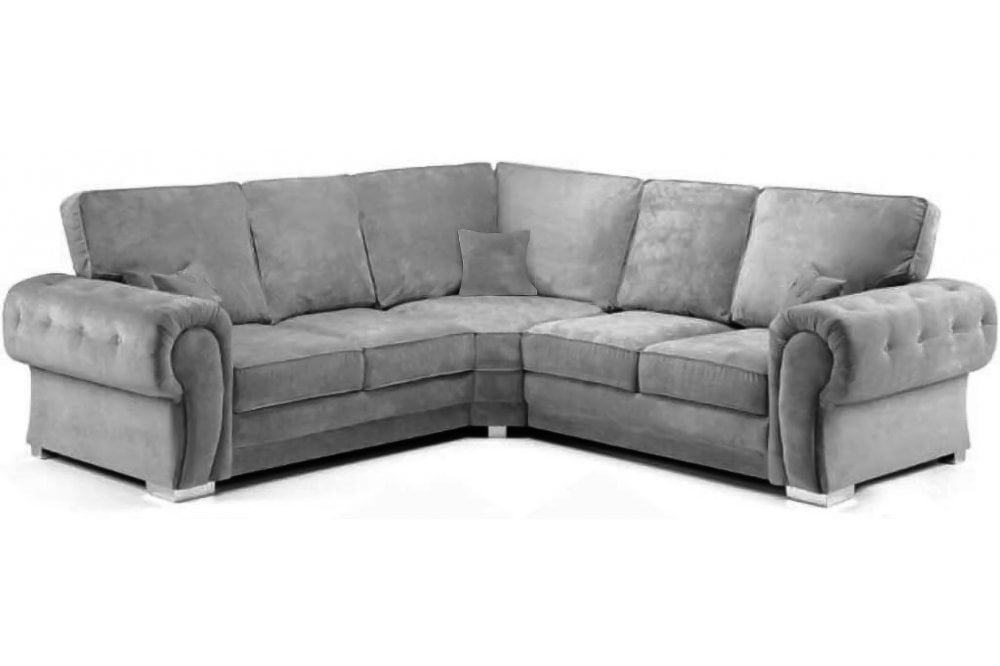 Verona High Back Grey Fabric Corner, Corner Sofa With High Back