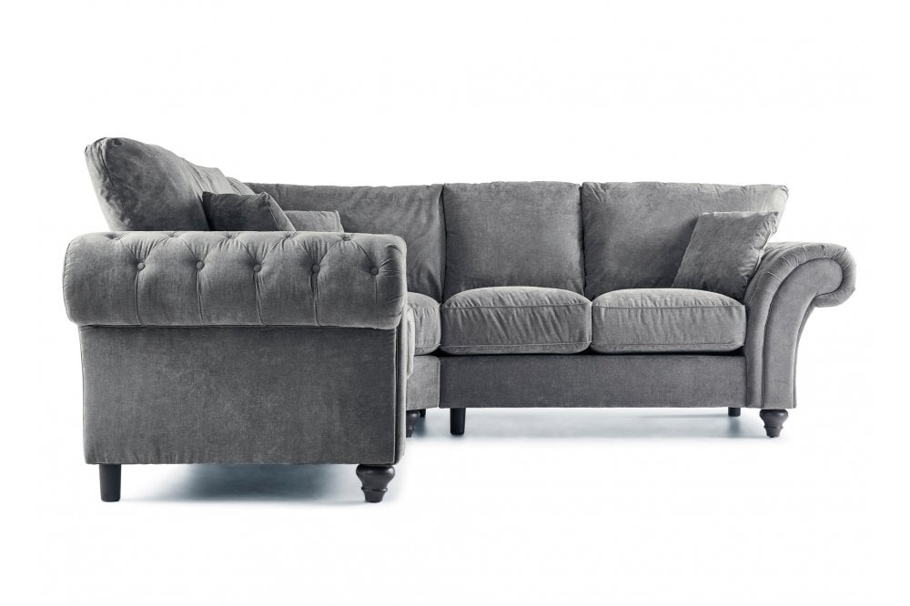 Windsor Grey Fabric High Back Corner, Corner Sofa With High Back