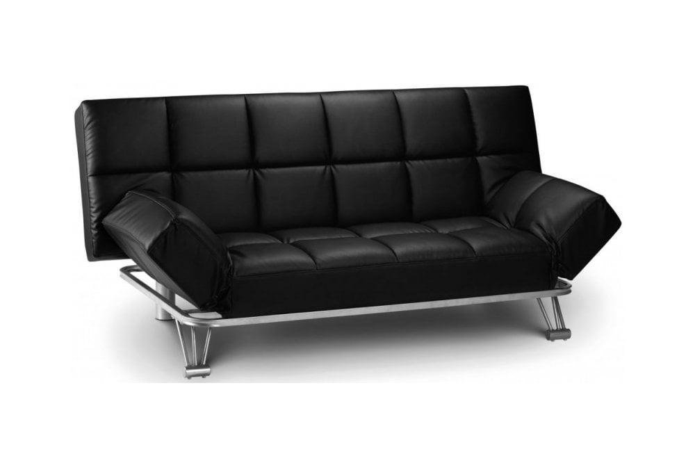 Julian Bowen Manhattan Black Faux, Black Leather Sofa Bed Couch
