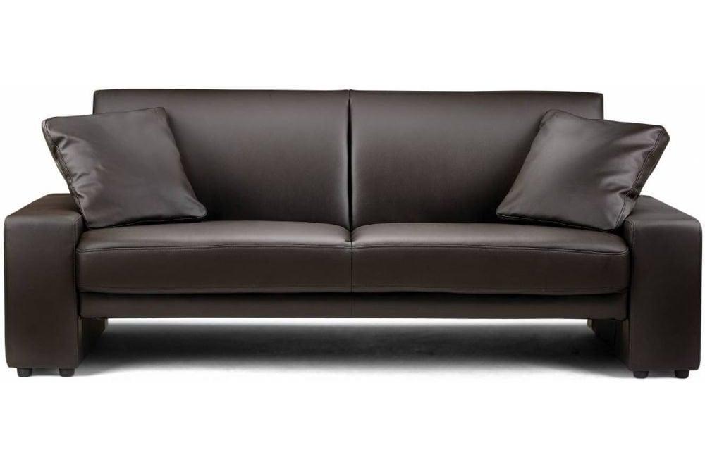 Julian Bowen Supra Brown Faux Leather, Brown Fabric Leather Sofa Bed