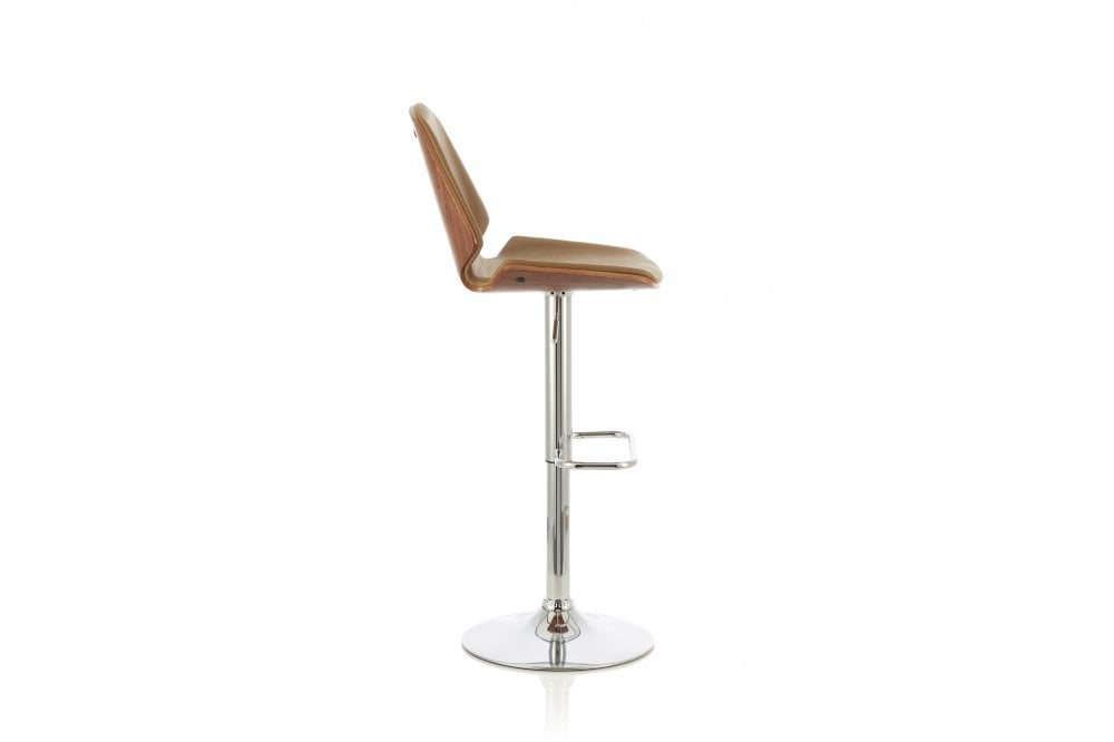 Fabio Height Adjustable Swivel Bar Stool In Beige Walnut Serene Furnitureinstore
