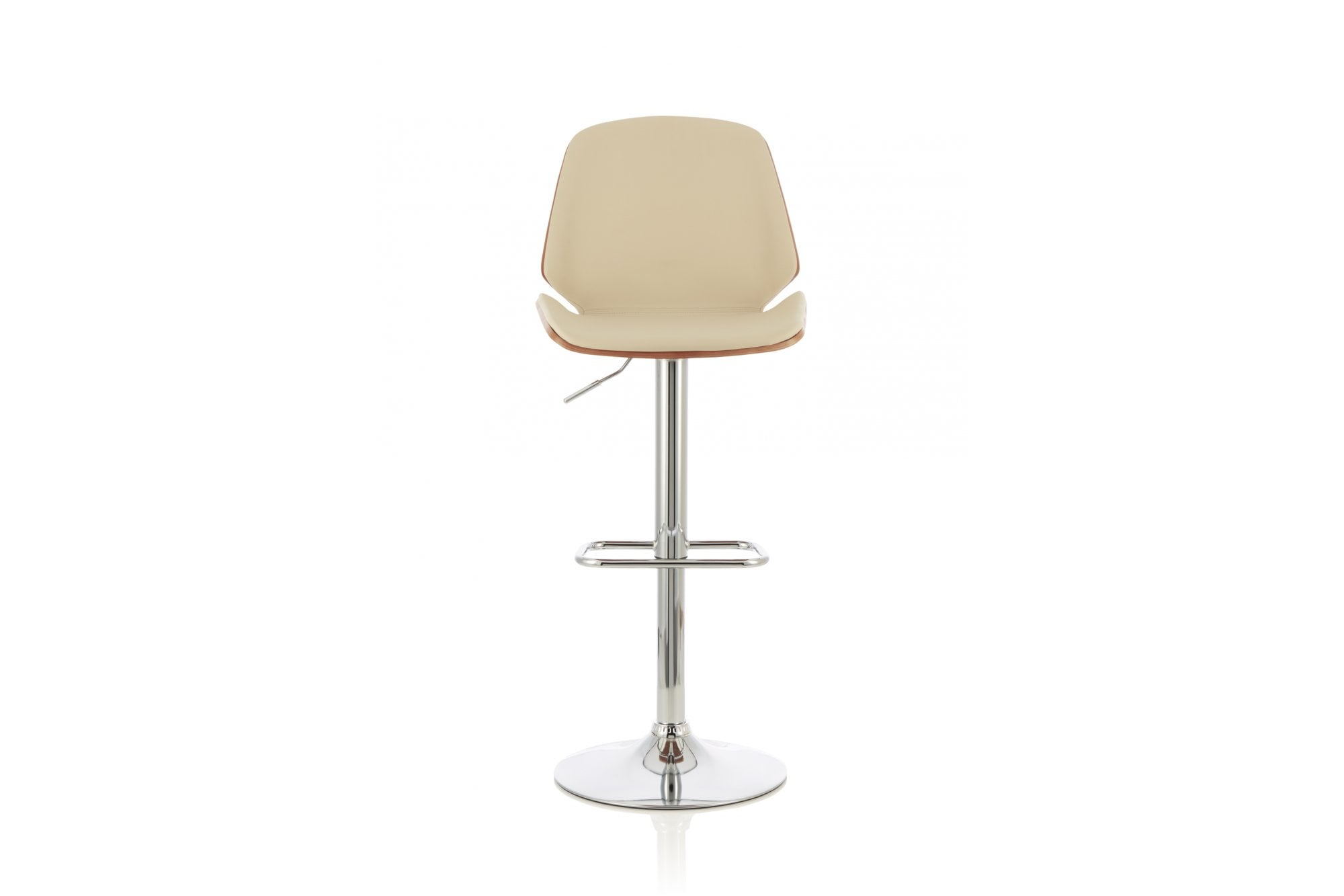Fabio Height Adjustable Swivel Bar Stool In Cream Walnut Serene Furnitureinstore