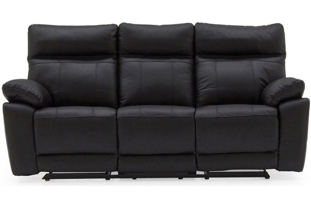 Vida Living Positano Black Leather 3 Seater Recliner Sofa ...